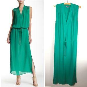 Vince V Neck Silk Maxi Dress Emerald Green